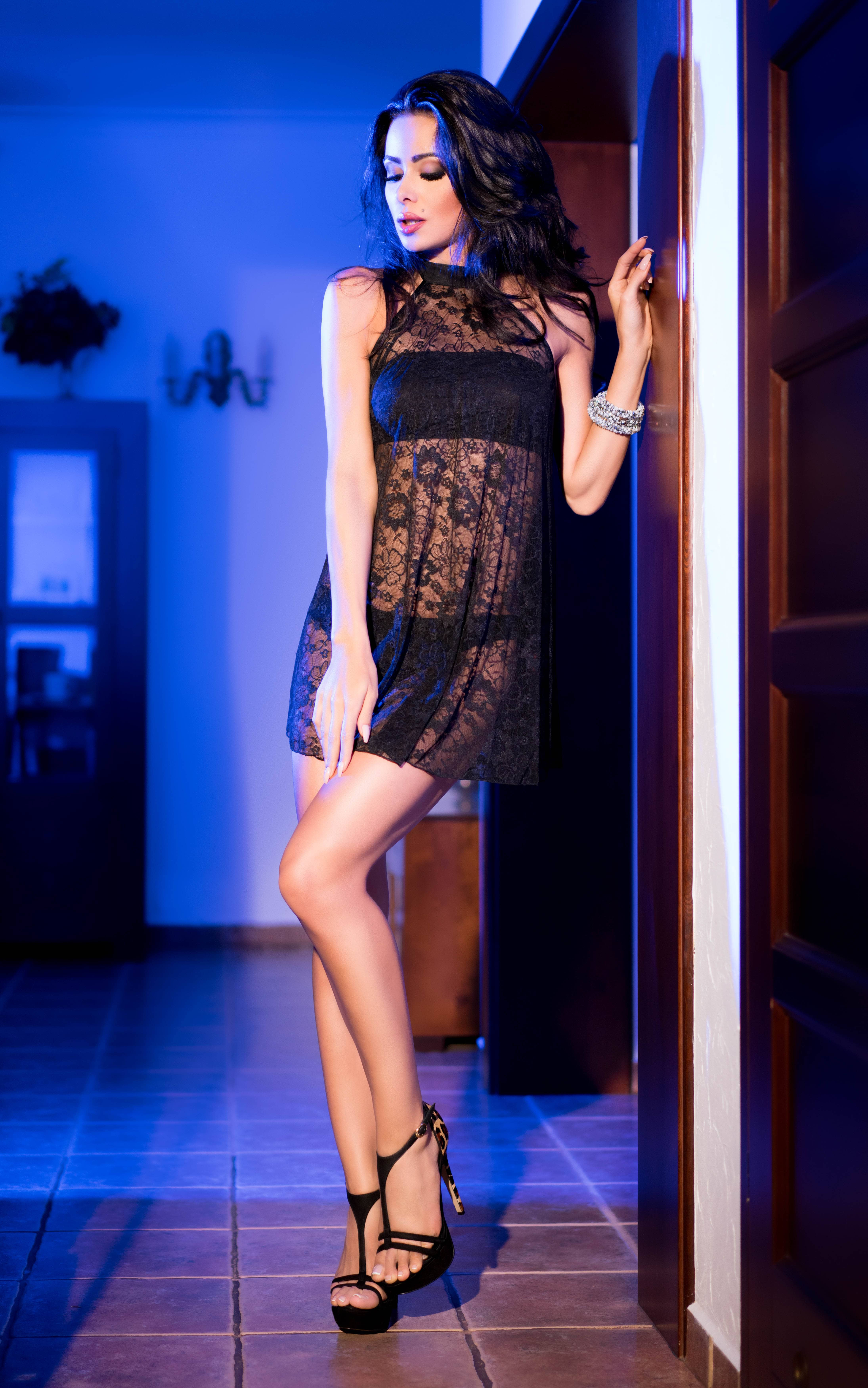 CR 4082 S/M Black Lacedress with Top and Panty - Size S/M thumbnail