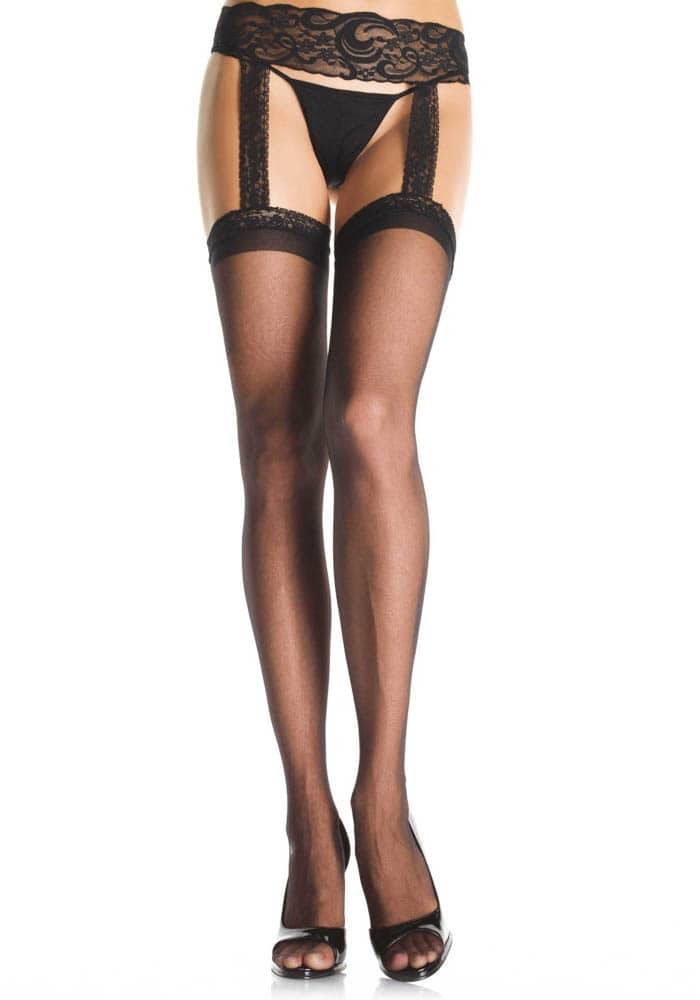 Sheer Thigh Highs - BLACK - PLUS SIZE - HOSIERY - Size Plus size thumbnail