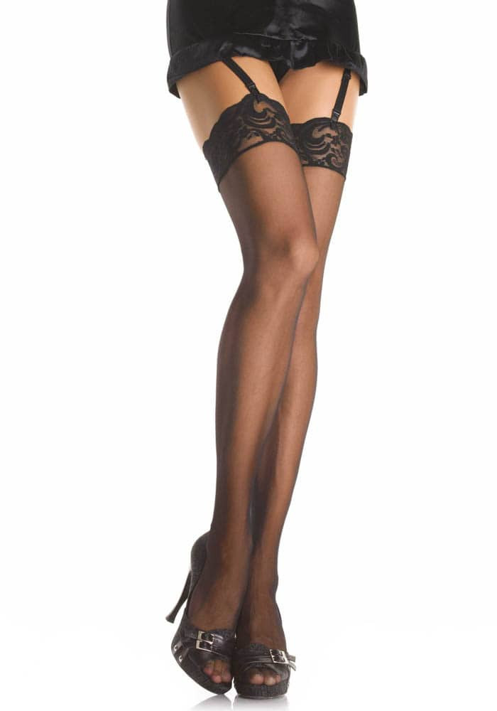 Thigh Highs w Lace Top Black S-L - Size S/L thumbnail