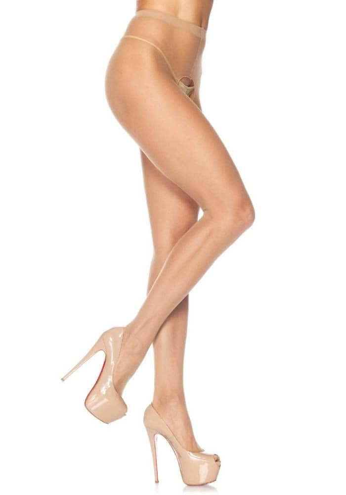 Sheer Crotchless Pantyhose - BEIGE - O/S - HOSIERY - Size One size thumbnail