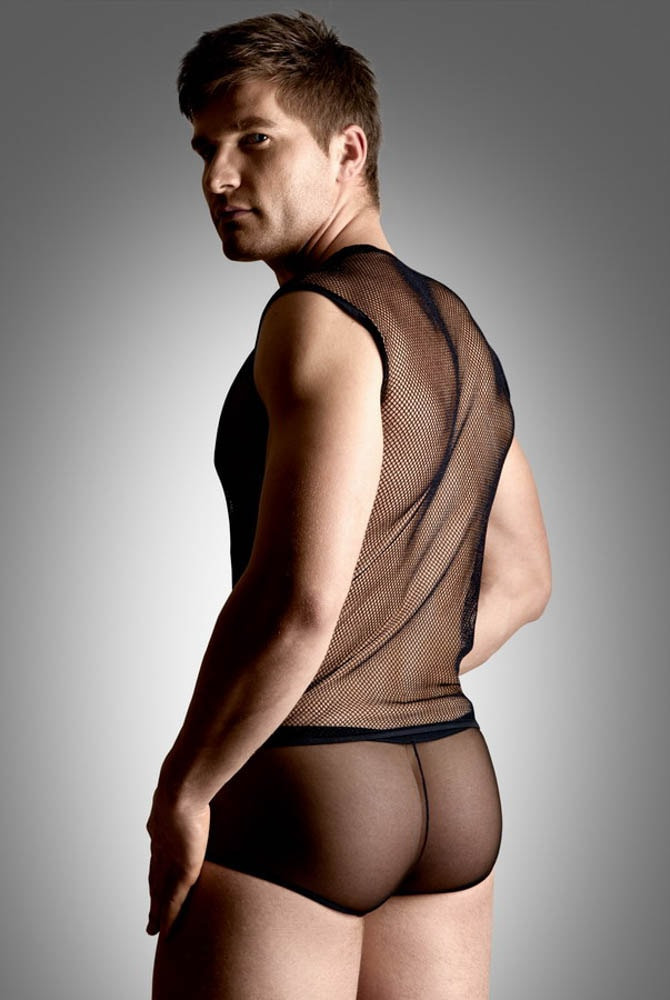 Net set - shirt and thong - black M/L - Size M/L thumbnail