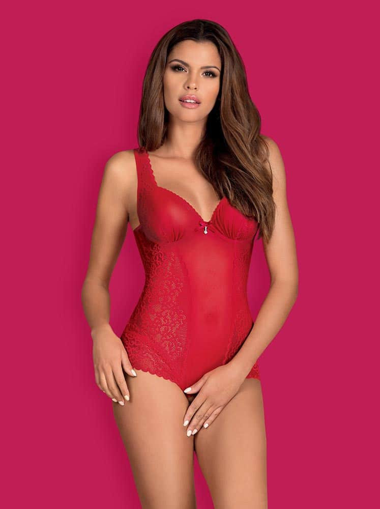 Rougebelle crotchless teddy red S/M - Size S/M thumbnail