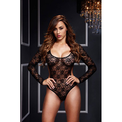 Baci Black Lacy Bodysuit Back Cutout 1 Pc O/S