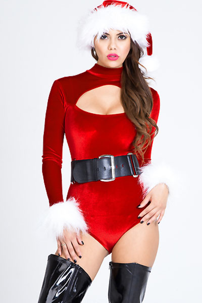 Velvet Christmas Belle Cutout Bodysuit