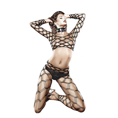 Baci Two Piece Diamond Net Bodystocking(DISC) O/S